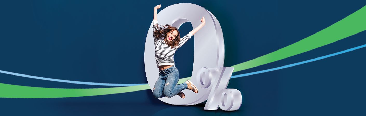 Woman jumping through 0% symbol.