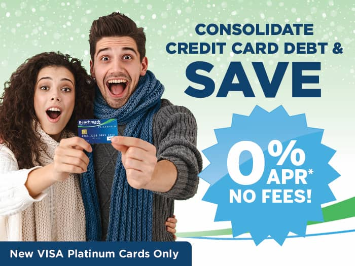 Man and woman excited about holding a Benchmark FCU VISA Platinum Credit Card. Desktop banner