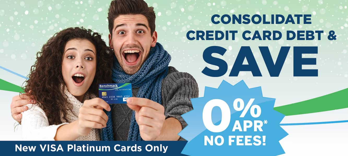 Man and woman excited about holding a Benchmark FCU VISA Platinum Credit Card. Mobile banner