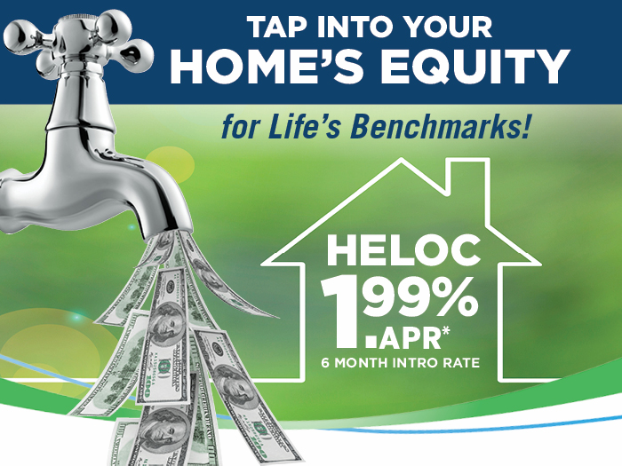 Home equity line of credit home page banner featuring a faucet with money coming out of it.