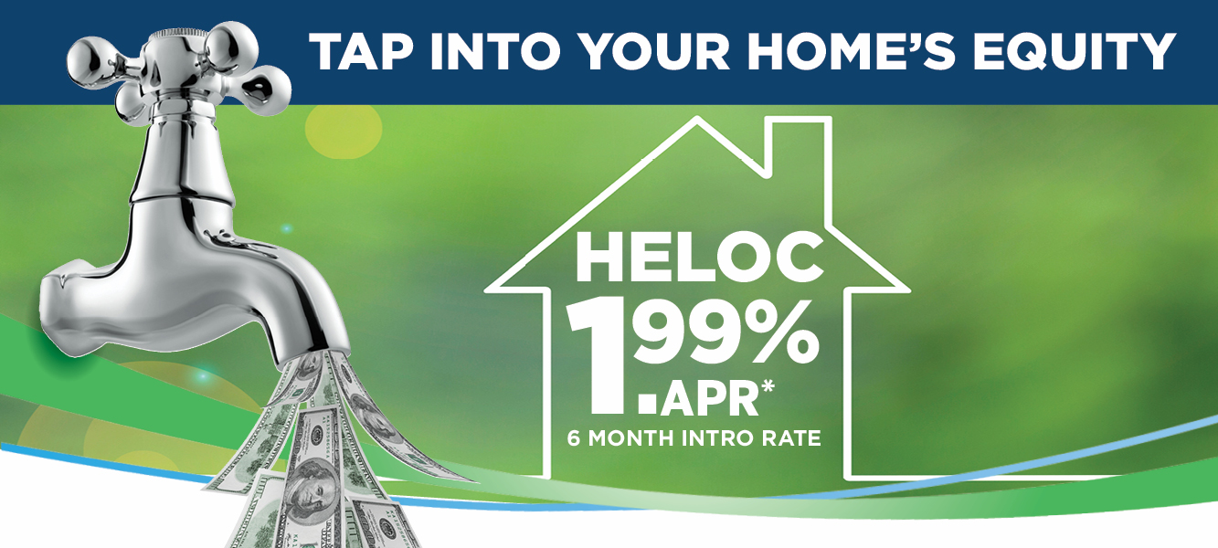 Home equity line of credit mobile home page banner featuring a faucet with money coming out of it.