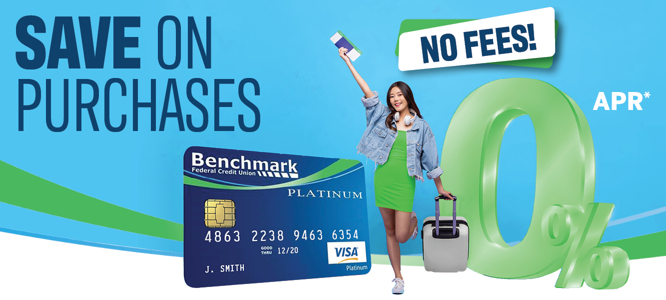 Woman with suitcase standing next to a Benchmark VISA Platinum Credit Card and a large 0% symbol.